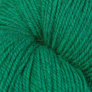 Skein of Berroco Ultra Alpaca Worsted weight yarn in the color Emerald Mix (Green) for knitting and crocheting.
