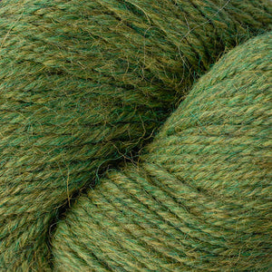 Skein of Berroco Ultra Alpaca Worsted weight yarn in the color Irwyn Green Mix (Green) for knitting and crocheting.