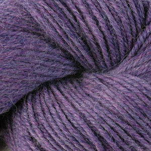 Skein of Berroco Ultra Alpaca Worsted weight yarn in the color Lavender Mix (Purple) for knitting and crocheting.
