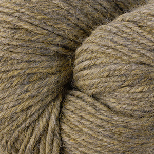 Skein of Berroco Ultra Alpaca Worsted weight yarn in the color Lichen Mix (Brown) for knitting and crocheting.