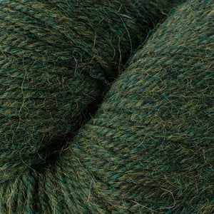 Skein of Berroco Ultra Alpaca Worsted weight yarn in the color Peat Mix (Green) for knitting and crocheting.