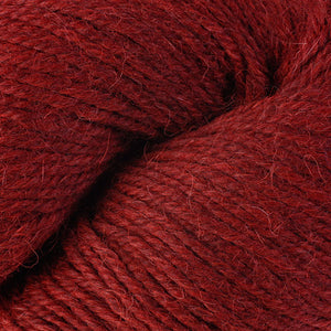 Skein of Berroco Ultra Alpaca Worsted weight yarn in the color Redwood Mix (Red) for knitting and crocheting.