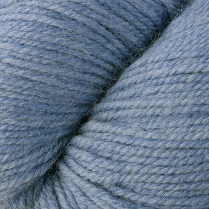 Skein of Berroco Ultra Alpaca Worsted weight yarn in the color Stonewashed Mix (Blue) for knitting and crocheting.