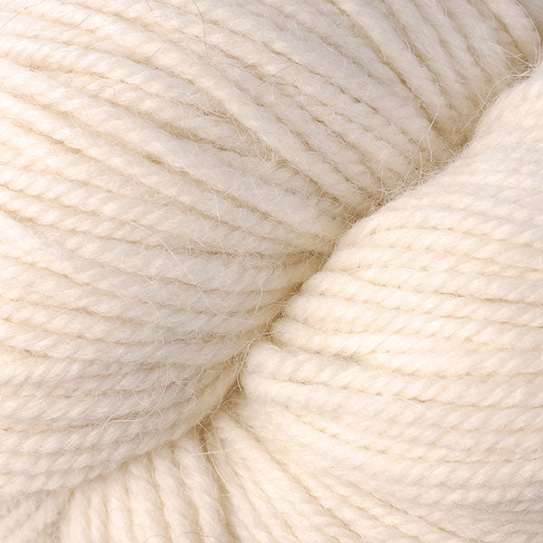 Skein of Berroco Ultra Alpaca Worsted weight yarn in the color Winter White (White) for knitting and crocheting.