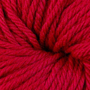 Skein of Berroco Vintage Chunky Bulky weight yarn in the color Cardinal (Red) for knitting and crocheting.
