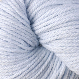 Skein of Berroco Vintage Chunky Bulky weight yarn in the color Misty (Blue) for knitting and crocheting.