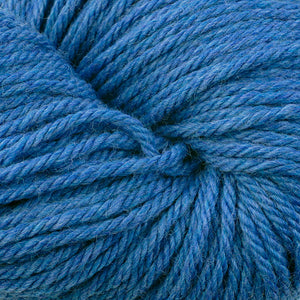 Skein of Berroco Vintage Chunky Bulky weight yarn in the color Sapphire (Blue) for knitting and crocheting.