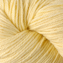 Load image into Gallery viewer, Skein of Berroco Vintage Worsted weight yarn in the color Banane (Yellow) for knitting and crocheting.