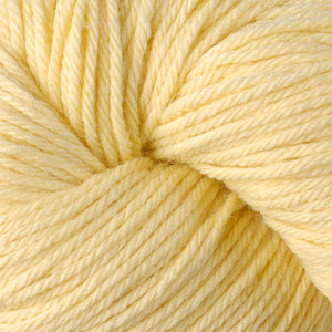 Skein of Berroco Vintage Worsted weight yarn in the color Banane (Yellow) for knitting and crocheting.