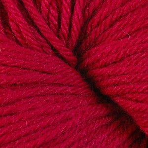 Skein of Berroco Vintage  Worsted weight yarn in the color Cardinal (Red) for knitting and crocheting.