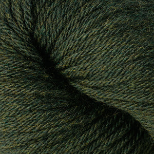 Skein of Berroco Vintage  Worsted weight yarn in the color Douglas Fir (Green) for knitting and crocheting.