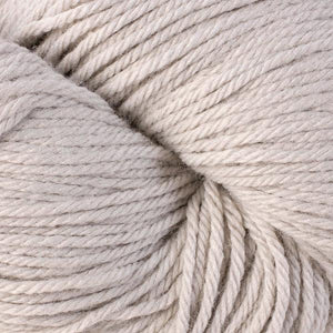 Skein of Berroco Vintage Worsted weight yarn in the color Dove (Gray) for knitting and crocheting.