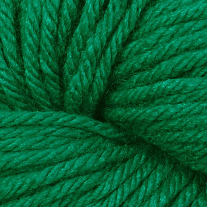 Skein of Berroco Vintage Worsted weight yarn in the color Holly (Green) for knitting and crocheting.
