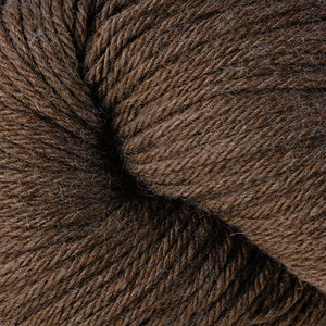 Skein of Berroco Vintage  Worsted weight yarn in the color Mocha (Brown) for knitting and crocheting.