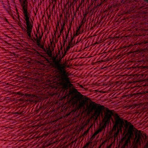 Skein of Berroco Vintage Worsted weight yarn in the color Ruby (Red) for knitting and crocheting.