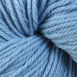 Skein of Berroco Vintage Worsted weight yarn in the color Sky Blue (Blue) for knitting and crocheting.