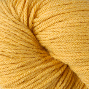 Skein of Berroco Vintage Worsted weight yarn in the color Sunny (Yellow) for knitting and crocheting.