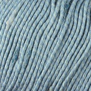 Skein of Berroco Zinnia Worsted weight yarn in color Bay (Blue) for knitting and crocheting.