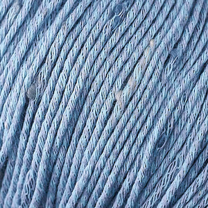 Skein of Berroco Zinnia Worsted weight yarn in color Gulf Stream (Blue) for knitting and crocheting.