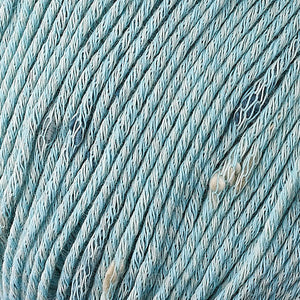 Skein of Berroco Zinnia Worsted weight yarn in color South Sea (Blue) for knitting and crocheting.
