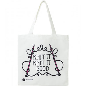 "Boye ""Knit it Good"" Canvas Tote for holding knitting projects."