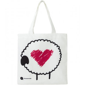 "Boye ""Sheep with Heart"" Canvas Tote for holding crochet or knitting projects."