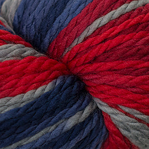 Skein of Cascade 128 Superwash Multis Bulky weight yarn in the color Boston (Red) for knitting and crocheting.