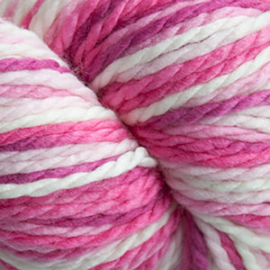 Skein of Cascade 128 Superwash Multis Bulky weight yarn in the color Pinks (Pink) for knitting and crocheting.