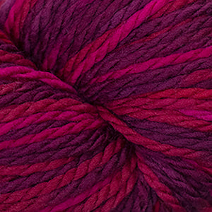 Skein of Cascade 128 Superwash Multis Bulky weight yarn in the color Reds (Red) for knitting and crocheting.
