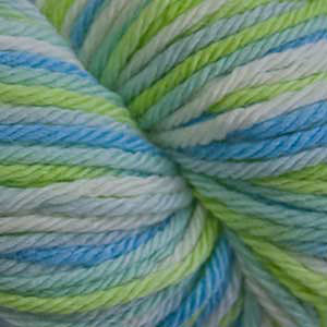 Skein of Cascade 220 Superwash Sport Multis Sport weight yarn in the color Baby Boy (Blue) for knitting and crocheting.