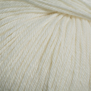Skein of Cascade 220 Superwash Worsted weight yarn in the color Aran (Cream) for knitting and crocheting.
