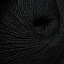 Load image into Gallery viewer, Skein of Cascade 220 Superwash Worsted weight yarn in the color Black (Black) for knitting and crocheting.