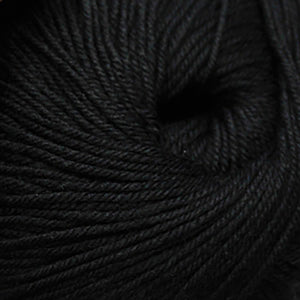 Skein of Cascade 220 Superwash Worsted weight yarn in the color Black (Black) for knitting and crocheting.