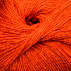 Skein of Cascade 220 Superwash Worsted weight yarn in the color Blaze (Orange) for knitting and crocheting.