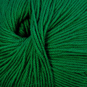 Skein of Cascade 220 Superwash Worsted weight yarn in the color Christmas Green (Green) for knitting and crocheting.