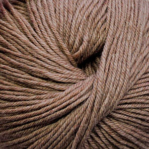 Skein of Cascade 220 Superwash Worsted weight yarn in the color Doeskin Heather (Brown) for knitting and crocheting.