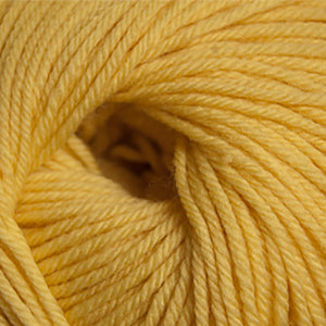 Skein of Cascade 220 Superwash Worsted weight yarn in the color Lemon (Yellow) for knitting and crocheting.