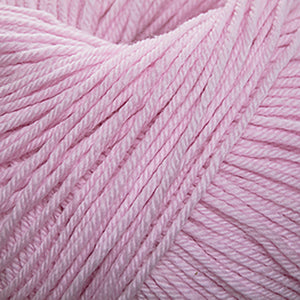 Skein of Cascade 220 Superwash Worsted weight yarn in the color Strawberry Cream (Pink) for knitting and crocheting.