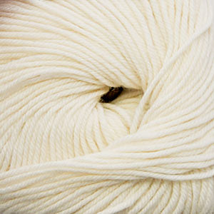 Skein of Cascade 220 Superwash Worsted weight yarn in the color Winter White (White) for knitting and crocheting.