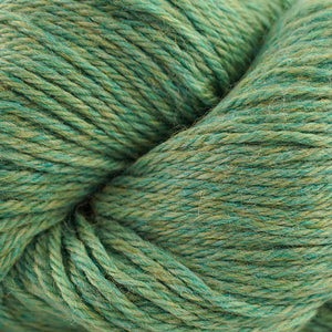 Skein of Cascade 220 Worsted weight yarn in the color Aventurine Heather (Green) for knitting and crocheting.