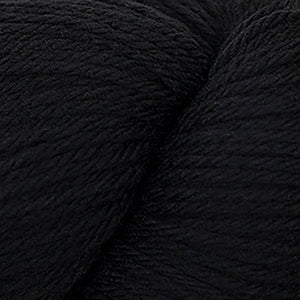 Skein of Cascade 220 Worsted weight yarn in the color Black (Black) for knitting and crocheting.