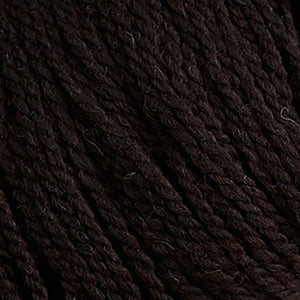 Skein of Cascade Ecological Wool Bulky weight yarn in the color Ebony (Brown) for knitting and crocheting.