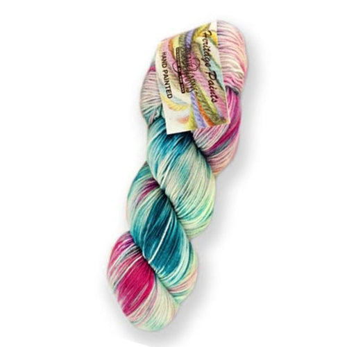 Skein of Cascade Heritage Paints Sock weight yarn in the color Rosebush (Blue) for knitting and crocheting
