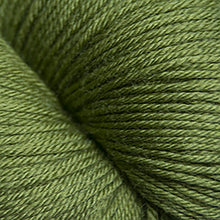 Load image into Gallery viewer, Skein of Cascade Heritage Silk Sock weight yarn in the color Camo Green (Green) for knitting and crocheting.