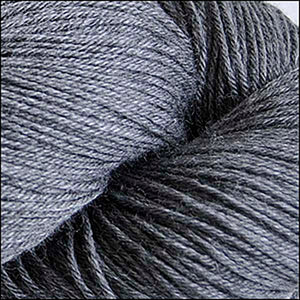 Skein of Cascade Heritage Silk Sock weight yarn in the color Charcoal (Gray) for knitting and crocheting.