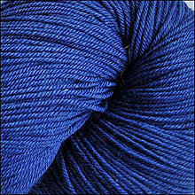 Load image into Gallery viewer, Skein of Cascade Heritage Silk Sock weight yarn in the color Marine Blue (Blue) for knitting and crocheting.