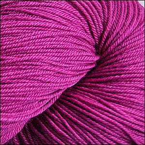 Skein of Cascade Heritage Silk Sock weight yarn in the color Raspberry (Purple) for knitting and crocheting.