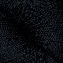 Load image into Gallery viewer, Skein of Cascade Heritage Silk Sock weight yarn in the color Real Black (Black) for knitting and crocheting.