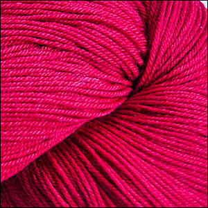 Skein of Cascade Heritage Silk Sock weight yarn in the color Reds (Red) for knitting and crocheting.