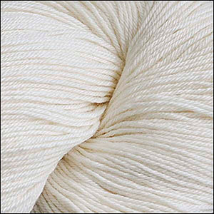 Skein of Cascade Heritage Silk Sock weight yarn in the color Snow (Cream) for knitting and crocheting.